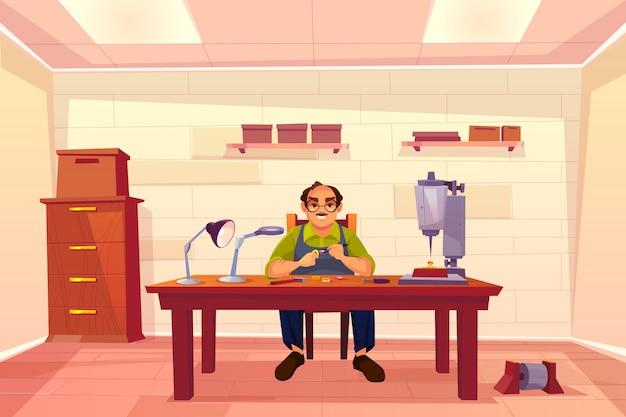 Juwelier, der in der werkstatt, goldschmied, schmuckreparaturwerkstattinnenraum mit kästen auf regalen arbeitet