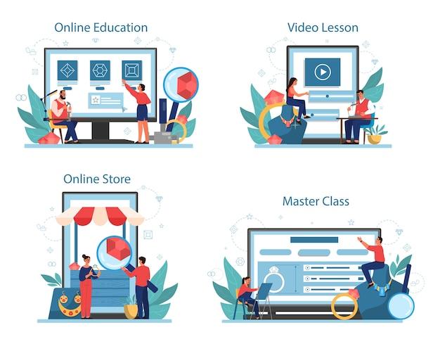 Juwelier und schmuck online-service oder plattform auf verschiedenen gerätekonzept-set. person, die mit edelsteinen arbeitet. online-shop, bildung, meisterkurs und videokurs.