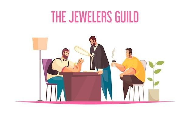 Juwelierkonzept mit flacher illustration von edelsteinen und schätzungssymbolen,
