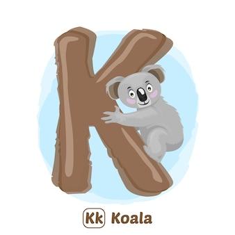 K für koala. premium-illustrationszeichnungsstil des alphabet-tieres für bildung
