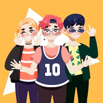 K-pop boy band illustriert