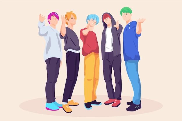 K-pop-jungs, die vorderansicht aufwerfen