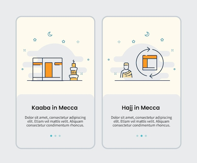 Kaaba in mekka und hadsch in mekka icons onboarding-vorlage für mobile ui-benutzeroberflächen-app-anwendungsdesign-vektorillustration