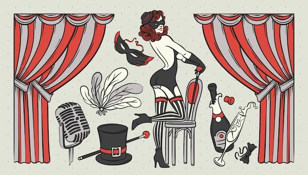 Kabarett thema illustrationen gesetzt