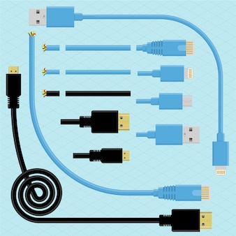 Kabel und stecker. pinsel design element set. usb-, dvi-, mini-usb- und mini-dvi-anschlüsse.