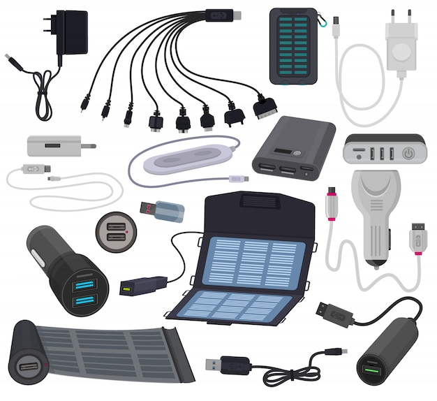 Kabelenergieladungstechnologie des ladegerätvektors mobile für smartphone