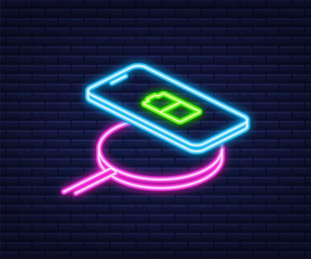 Kabelloses laden für smartphones. innovatives modernes technologisches zubehör. neon-stil. isometrisches flaches design der vektorillustration.