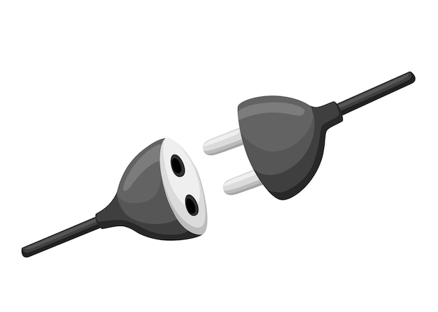 Kabelstecker und buchse. schwarzes stromkabel. illustration in flachem design. auf weißem hintergrund isoliert.