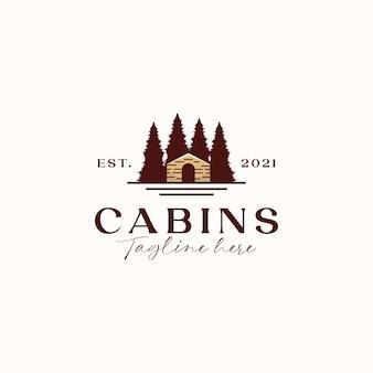 Kabinen-vintage-konzept-logo-vorlage in weißem hintergrund isoliert
