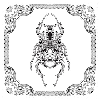 Käfer, der einen käfer mit einer gesichtsmaske auf den handgezeichneten illustrationsentwürfen der flügel graviert