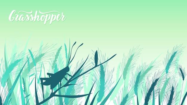 Käfer-heuschrecke sitzt auf einem grashalm in der gebüschillustration. schönheitsmakrowelt