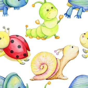 Käfer, raupe, schnecke, marienkäfer. aquarell nahtlose muster, auf einem isolierten hintergrund, im cartoon-stil.