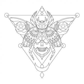 Käfer-schädel-mandala-tätowierungs-illustration im linearen stil