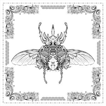Käfergravur ein hirschkäfer mit einem gesicht und einer maske auf den handgezeichneten illustrationsentwürfen der flügel