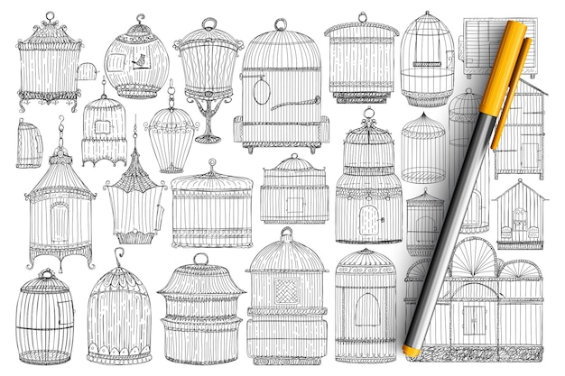 Käfige für vögel gekritzel gesetzt. sammlung von handgezeichneten eleganten vintage-käfigen für vögel für haus oder garten von verschiedenen stilen und formen isoliert.