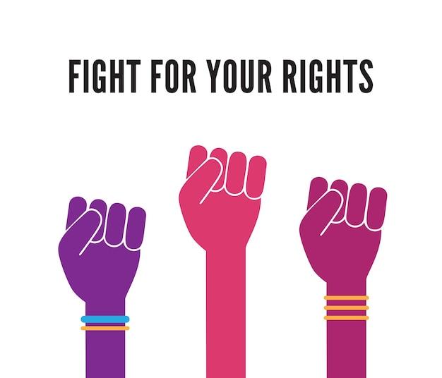 Kämpfen wie ein mädchen. frauenhände mit erhobener faust. girl power feminismus-konzept-vektor-illustration für print, karten, aufkleber, grafikdesign
