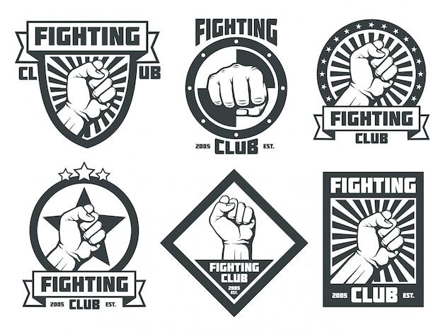 Kämpfende verein mma lucha libre vintage embleme etiketten abzeichen logos