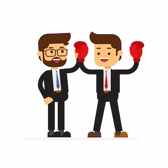 Kämpfender geschäftspartner oder kollege