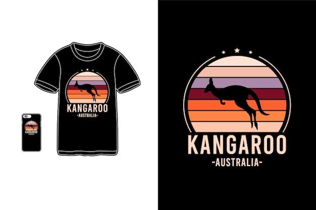 Känguru australien, t-shirt waren siluet typografie
