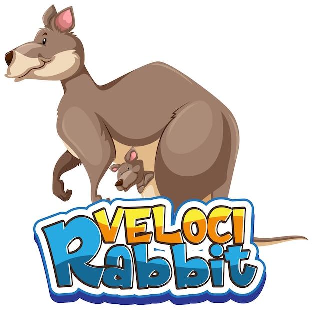 Känguru-cartoon-figur mit velocirabbit-schriftart-banner isoliert