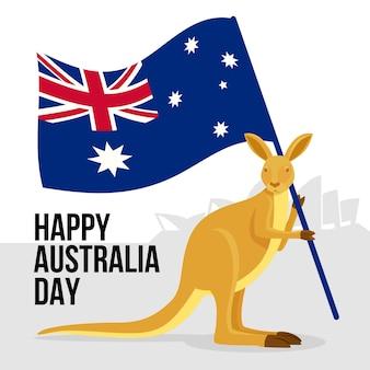 Känguru, der australische flagge hält