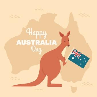 Känguru, der australische staatsflagge hält