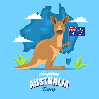 Känguru, der eine flagge am australien-tag hält