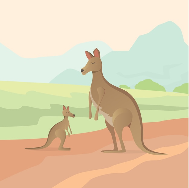 Känguru-illustration im flachen design