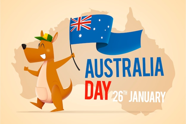 Känguru mit dem hut, der flagge für australien-tag hält