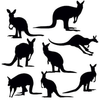 Känguru-silhouette-set