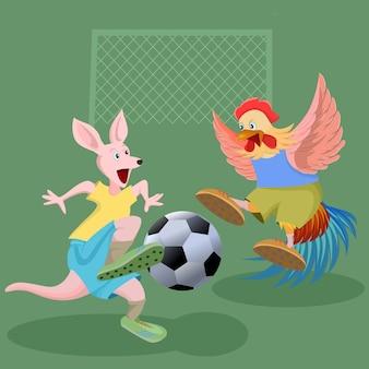 Känguru und huhn, die fußballspiele spielen.