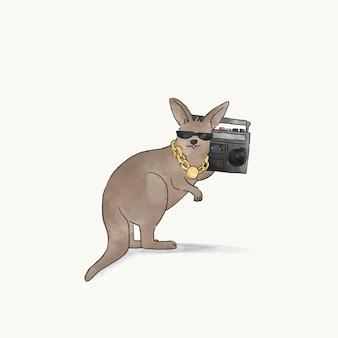 Känguruh, der hip-hopmusik hört