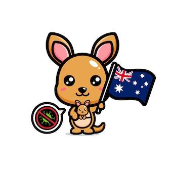 Kängurus halten die australische flagge, die das coronavirus verbietet