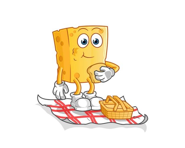 Käse auf einem picknick-cartoon. cartoon maskottchen