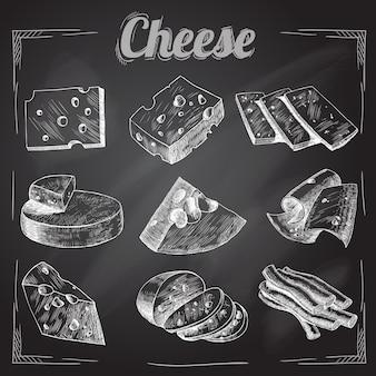 Käse auf schwarzem hintergrund