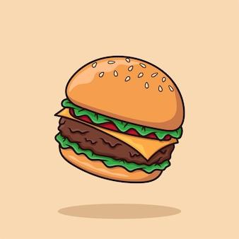 Käse-burger-cartoon-vektor-illustration