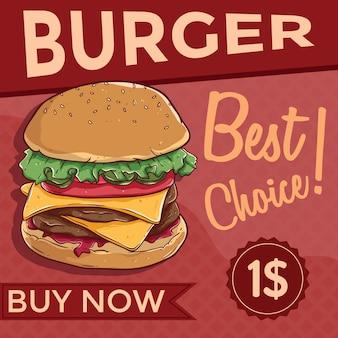 Käse burger oder fast-food-banner
