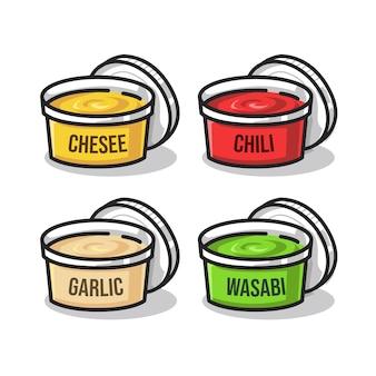 Käse-chili-knoblauch und wasabi-sauce in niedlichen strichzeichnungen