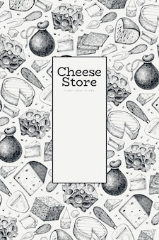 Käse design vorlage. hand gezeichnete milchillustration. gravierte art verschiedene käsesorten banner. vintage food hintergrund.