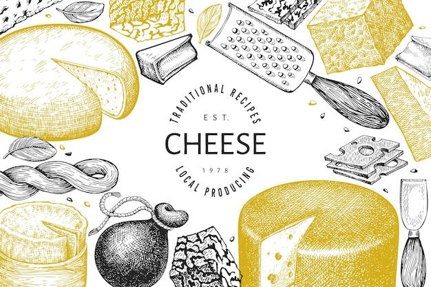 Käse design vorlage. hand gezeichnete milchillustration.