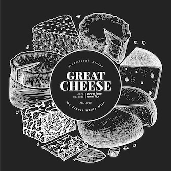 Käse design vorlage. hand gezeichnete vektormilchillustration auf kreidetafel. gravierte art verschiedene käsesorten banner. vintage food hintergrund.