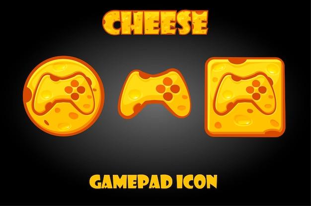 Käse-gamepad-tasten für das grafische spielmenü. satz von symbolen mit einem joystick für die gui.