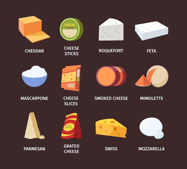 Käse großes set. geriebener holländischer käse in stäbchen weiß roquefort und feta schimmel rund geräuchert