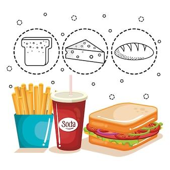Käse-, kaffee- und hühnerschenkel mit hand gezeichneten lebensmittelaufklebern über weißem hintergrund. vektorillustrationen