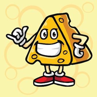 Käse-karikatur-spaß-kühles maskottchen-logo-charakter-design-vektor-illustration