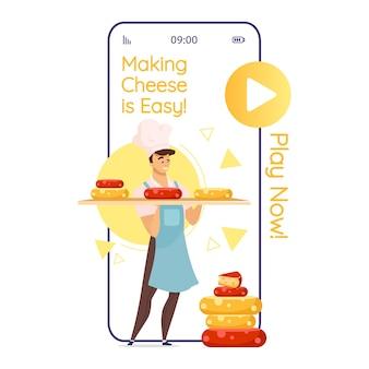 Käse machen ist einfach cartoon smartphone app bildschirm. käsespiel. käse macher. handy-displays mit flachem charakter-design. anwendung telefon niedliche schnittstelle