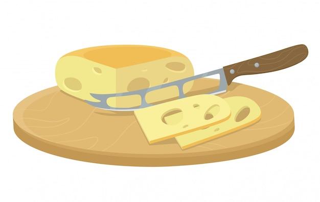 Käse mit einem messer schneiden. hacken und mahlen von bio-zutaten von hand. illustration im flachen stil der karikatur.