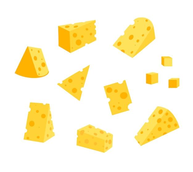 Käse mit isoliert auf weißem hintergrund, flache vektorgrafik. eine reihe von verschiedenen käsesorten