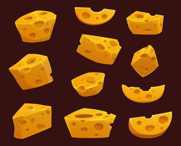 Käse mit löchern karikatur von milchkeilen, scheiben und stücken.