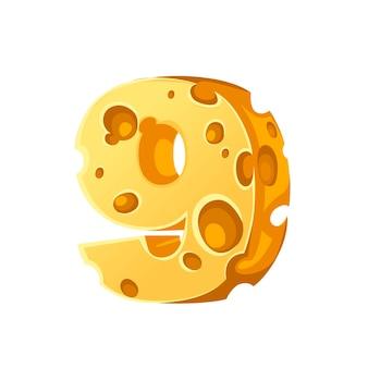 Käse nummer 8 stil cartoon food design flache vektor-illustration isoliert auf weißem hintergrund.